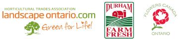 Landscape Ontario, Durham Farm Fresh and Flowers Canada Ontario logos.