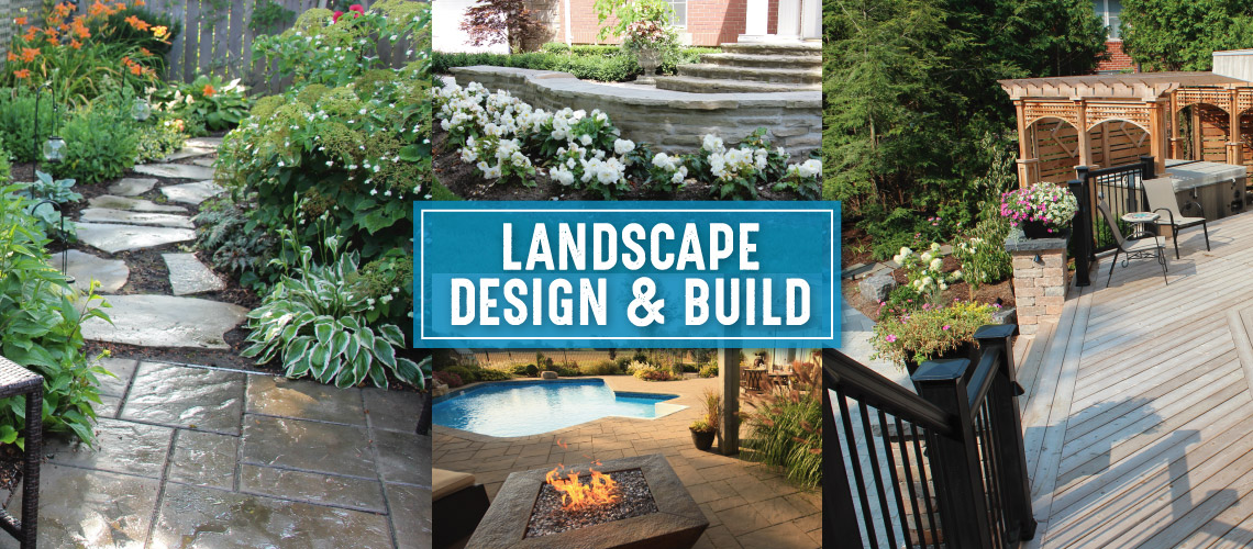 Collage of landscaped backyards, pool, front deck and back deck.